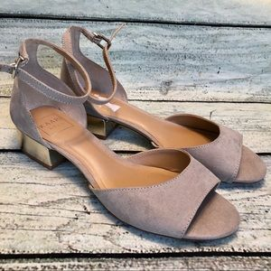 Like new Kaari blue taupe low heel ankle strap 7.5